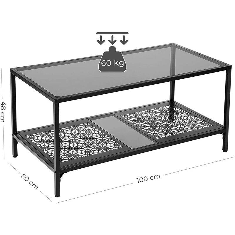 Vasagle Tempered Glass Coffee Table Glass Table With Iron Frame