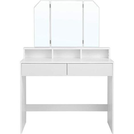 VASAGLE Tocador con Espejo Plegable, Mesa de Maquillaje, con 2 Cajones y 3 Compartimentos de Almacenamiento, Estilo Moderno, Blanco por SONGMICS RDT115W01
