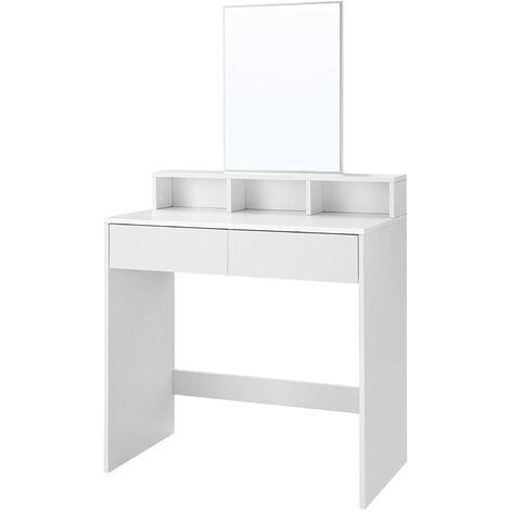 VASAGLE Tocador con Espejo Rectangular, Mesa de Maquillaje, con 2 Cajones y 3 Compartimentos de Almacenamiento, Estilo Moderno, Blanco por SONGMICS RDT113W01