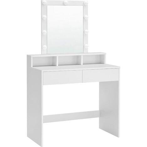 VASAGLE Tocador con Espejo y Bombillas, Mesa de Maquillaje, con 2 Cajones y 3 Compartimentos de Almacenamiento, Estilo Moderno, Blanco por SONGMICS RDT114W01