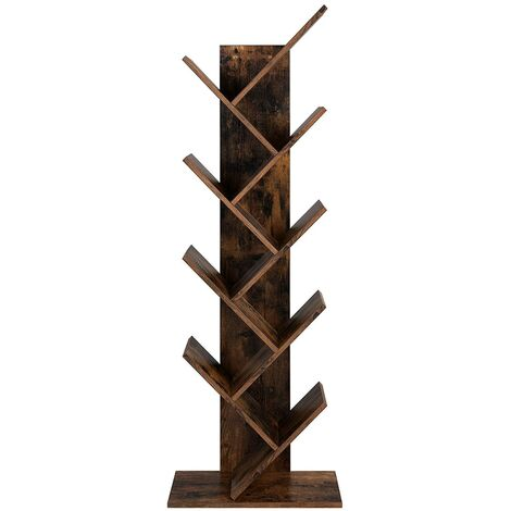 """main image of """"VASAGLE Tree Bookshelf, 8-Tier Floor Standing Bookcase, with Wooden Shelves for Living Room, Home Office, Rustic Brown by SONGMICS LBC11BX - Rustic Brown"""""""