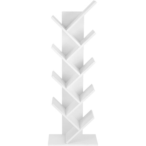 """main image of """"VASAGLE Tree Bookshelf, 8 Tier Floor Standing Bookcase with Wooden Shelves for Living Room, Home Office, White by SONGMICS LBC11WTV1 - White"""""""