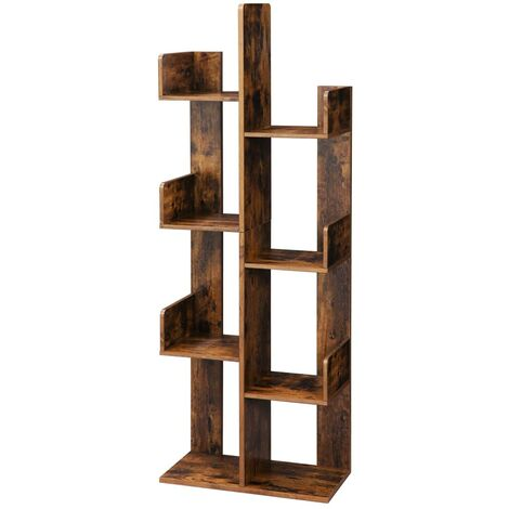 VASAGLE Tree-Shaped Bookcase, Bookshelf with 8 Storage Compartments, 50 x 25 x 140 cm, with Rounded Corners, Rustic Brown by SONGMICS LBC66BXV1