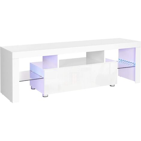 VASAGLE TV Cabinet for TVs up to 60 Inches, Large TV Table, TV Stand with LED Lighting, Lowboard in Living Room, 140 x 35 x 45 cm, Modern, Glossy, White by SONGMICS LTV14WT
