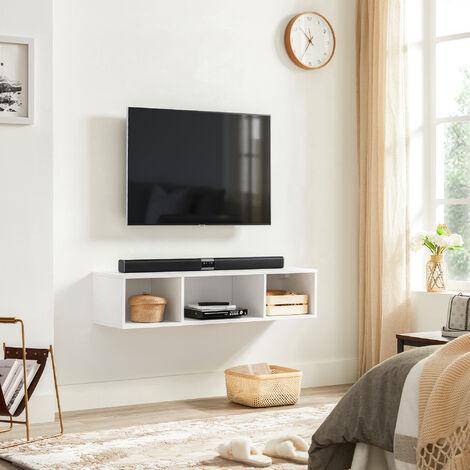 """main image of """"VASAGLE TV-Schrank an der Wand, hängendes TV-Regal, Hängeschrank, Wandregal mit 3 Fächern, schwebend, wandmontiert, platzsparend, Weiß von SONGMICS LTV104W01 - Weiß"""""""