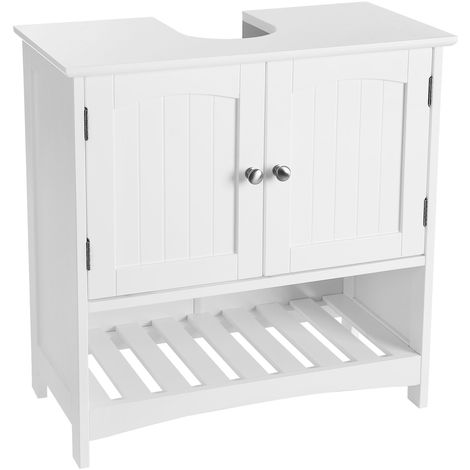 VASAGLE Under Sink Bathroom Cabinet with Open Storage Compartment, Free Standing, Country Style Wooden Storage Cabinet Cupboard, White, 60 x 30 x 60cm (W x D x H),by SONGMICS, BBC03WT