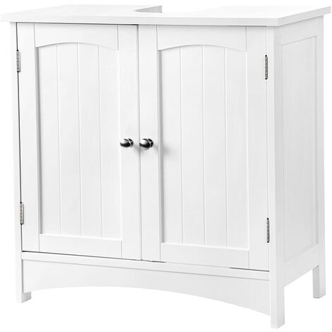 VASAGLE Under Sink Cabinet Storage Cabinet Bathroom Cupboard 2 Door 2 Compartments Adjustable shelf Damp-Resistant 60 x 30 x 60cm White Country Style by SONGMICS BBC01WT
