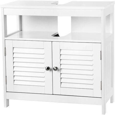 VASAGLE Under Sink Cabinet Storage Cabinet Bathroom Cupboard Double Shutter Door 2 Compartments Damp-Resistant 60 x 30 x 60cm White Country Style by SONGMICS BBC02WT
