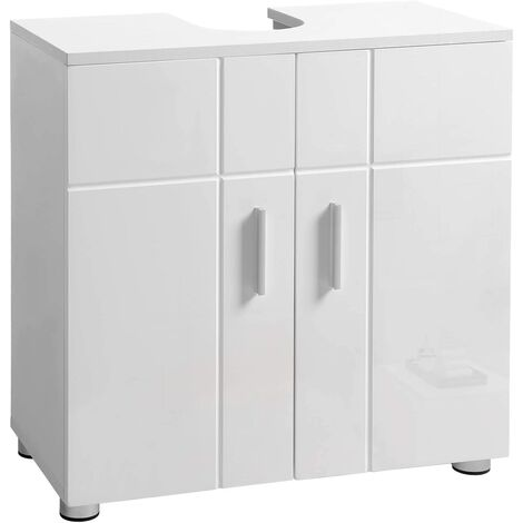 VASAGLE Under Sink Storage Cabinet, Bathroom Vanity Basin Cabinet with Double Door, Adjustable Shelf, Soft Close Hinges, Adjustable Feet, 60 x 30 x 60 cm, Glossy White Doors by SONGMICS BBK02WT - White