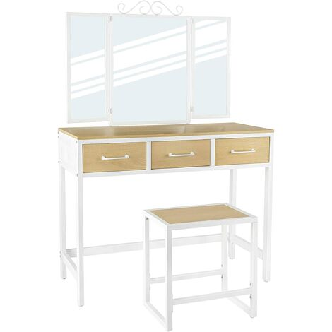 VASAGLE Vanity Table Set, Dressing Table with Stool, Tri-Fold Mirror, 3 Drawers, Makeup Table with Steel Frame, Natural and White/Rustic Brown and Black