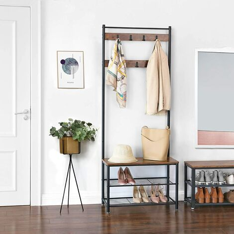 VASAGLE Vintage Hat and Coat Stand Hallway Shoe Rack and Bench with Shelves Storage Organiser with Hooks Matte Metal Frame 70 x 32 x 175cm