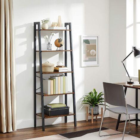 VASAGLE Vintage Standregale, Bücherregal mit 5 Ablagen, mit Metallrahmen, einfache Montage, fürs Wohnzimmer, Schlafzimmer, Küche, 56 x 172 x 34cm (B x H x T), by SONGMICS, LLS45X - Rustic Dark Brown