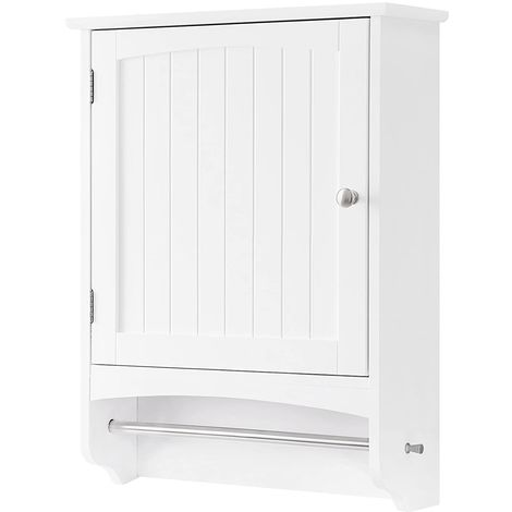 VASAGLE Wall Cabinet, Wooden Bathroom Cabinet, Hanging Storage Cabinet with Towel Rod and Adjustable Shelf, Country Style Medicine Cupboard, White, 48 x 16 x 65cm (W x D x H), by SONGMICS, BBC22WT