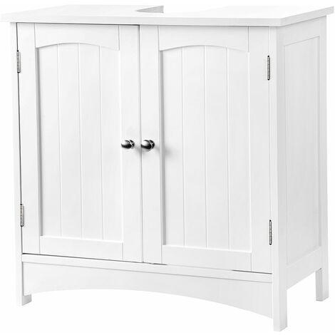 VASAGLE Waschbeckenunterschrank Unterschrank Badezimmerschrank viel Stauraum 2 Türen mit verstellbarer Einlegeboden Weiß 60 x 60 x 30cm by SONGMICS BBC01WT