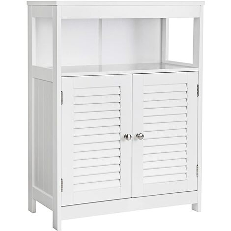 VASAGLE Wooden Bathroom Floor Cabinet Storage Organizer Rack Cupboard Free Standing with Double Shutter Door White by SONGMICS BBC40WT