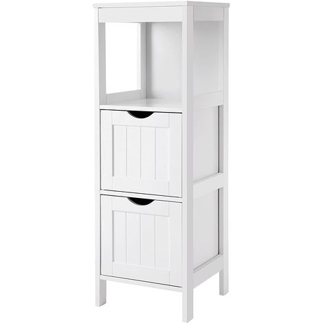 VASAGLE Wooden Bathroom Floor Cabinet Storage Organizer Stand Medicine Cupboard Bedside Free Standing Corner Unit with 2 Drawers White by SONGMICS BBC42WT