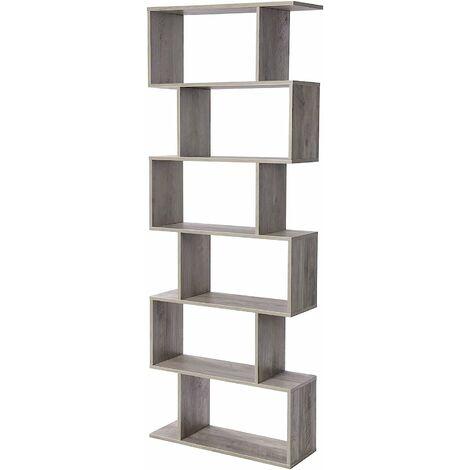 VASAGLE Wooden Bookcase, Cube Display Shelf and Room Divider, Freestanding Decorative Storage Shelving, 6-Tier Bookshelf, Greige by SONGMICS LBC061M01