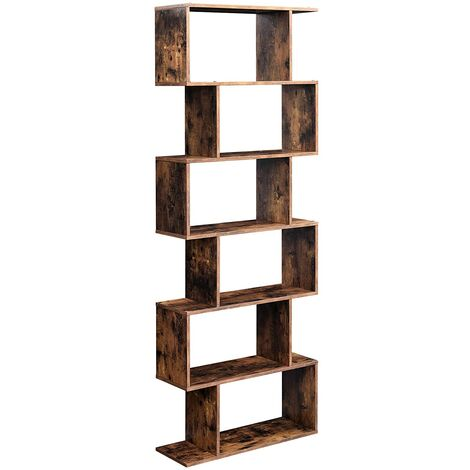 VASAGLE Wooden Bookcase, Cube Display Shelf and Room Divider, Freestanding Decorative Storage Shelving, 6-Tier Bookshelf, Rustic Brown by SONGMICS LBC61BX