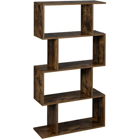 VASAGLE Wooden Bookcase, Display Shelf and Room Divider, Free-Standing Decorative 4-Tier Bookshelf Shelving Unit, Rustic Brown by SONGMICS LBC41BX