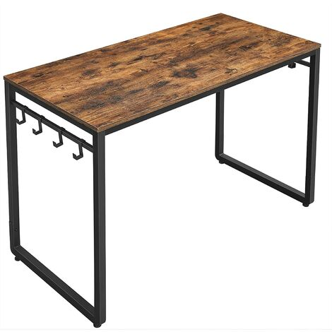 VASAGLE Writing Desk, Computer Desk, Office Table with 8 Hooks, 120 x 60 x 75 cm, for Study, Home Office, Easy Assembly, Metal, Industrial Design, Rustic Brown and Black by SONGMICS LWD58X - Rustic Brown and Black