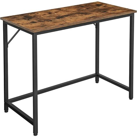 VASAGLE Writing Desk, Computer Desk, Small Office Table, 100 x 50 x 75 cm, Study, Home Office, Simple Assembly, Metal, Industrial Design, Rustic Brown by SONGMICS LWD41X - Rustic Brown