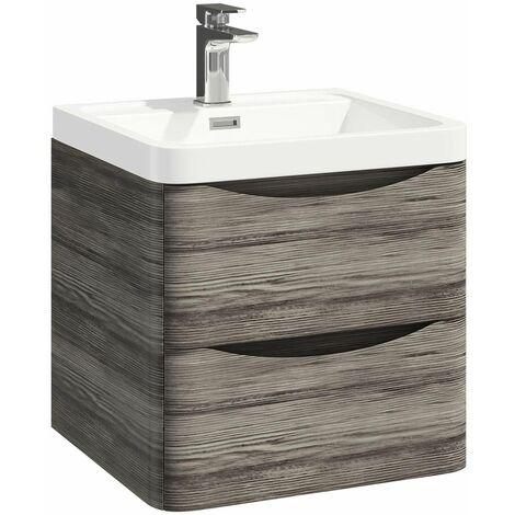 Vasari 500mm Wall Hung Bathroom Vanity Unit Basin Sink Tap Storage Cabinet Grey