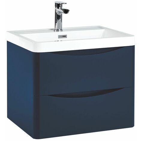 Vasari 600 Blue Bathroom Vanity Unit Drawer Basin Sink Storage Cabinet Wall Hung