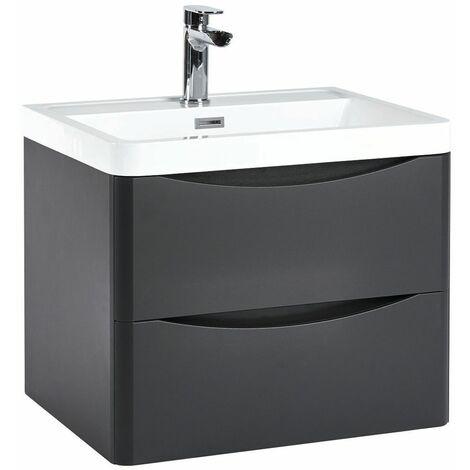 Vasari 600 Grey Bathroom Vanity Unit Drawer Basin Sink Storage Cabinet Wall Hung