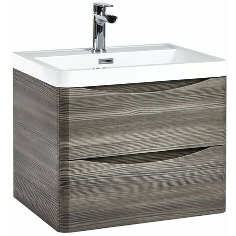 Vasari 600 Grey Wall Hung Vanity Unit Drawer Basin Sink Storage Cabinet Bathroom