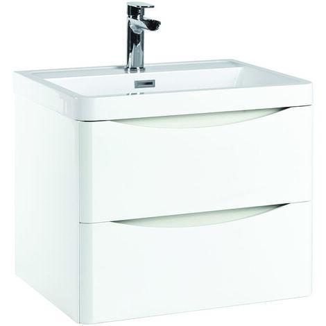 Vasari 600 White Bathroom Vanity Unit Drawer Basin Sink Gloss Cabinet Wall Hung