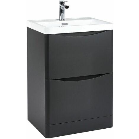 Vasari 600mm Grey Bathroom Vanity Unit Basin Sink Storage Cabinet Floor Standing