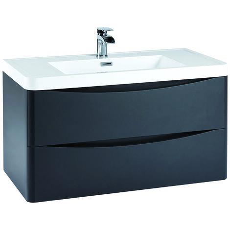 Vasari 900 Grey Bathroom Vanity Unit Drawer Basin Sink Storage Cabinet Wall Hung