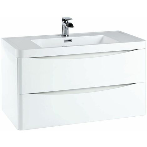 Vasari 900 White Bathroom Vanity Unit Drawer Basin Sink Gloss Cabinet Wall Hung