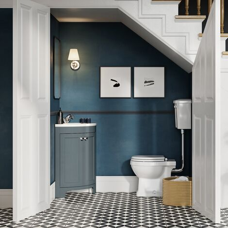 Vasari Bathroom 450mm Corner Vanity Unit Single Tap Basin Sink Floor Standing