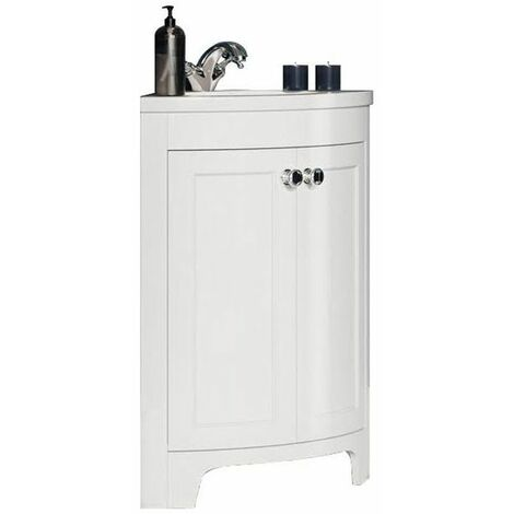 Vasari Bathroom 450mm Corner Vanity Unit Tap Basin Sink Floor Standing White