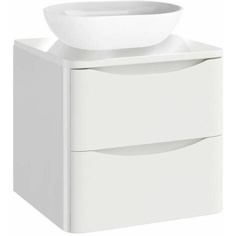 Vasari Bathroom 500mm Vanity Unit Storage Cabinet Wall Hung Countertop White