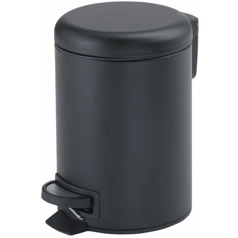 Vasari Bathroom Toilet WC Rubbish Waste Bin Round Pedal Black 5 Litre Modern