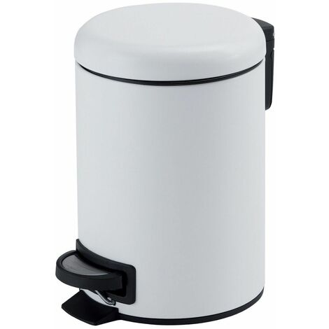 Vasari Bathroom Toilet WC Rubbish Waste Bin Round Pedal White 3 Litre Modern