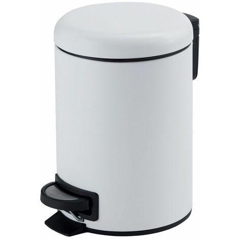 Vasari Bathroom Toilet WC Rubbish Waste Bin Round Pedal White 5 Litre Modern