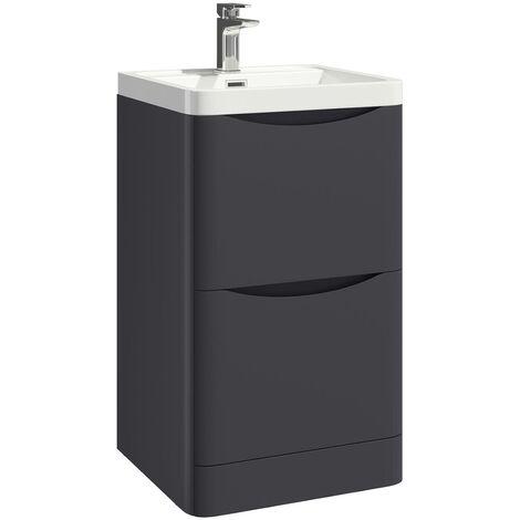 Vasari Bathroom Vanity Unit Basin Sink Storage Cabinet Floor Standing Grey 500mm