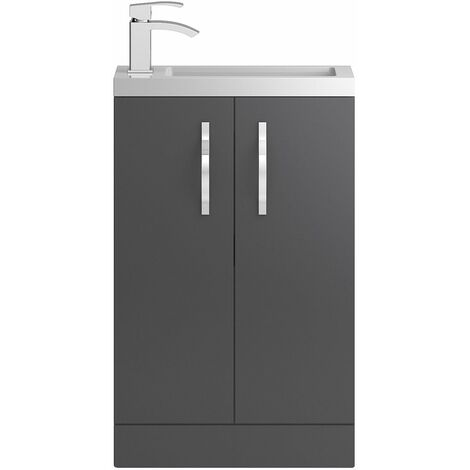 Vasari Beacon Compact Grey Gloss Cloakroom Vanity Unit Basin 500mm Bathroom