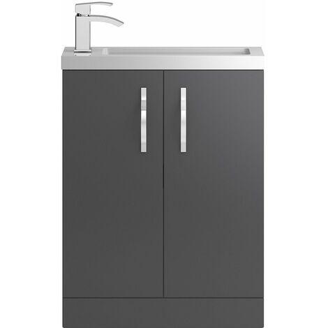 Vasari Beacon Compact Grey Gloss Cloakroom Vanity Unit Basin 600mm Bathroom