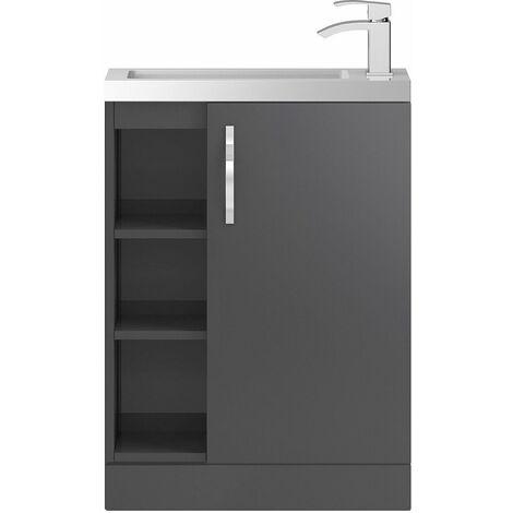 Vasari Beacon Compact Grey Gloss Cloakroom Vanity Unit Shelves Basin 600mm