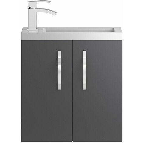 Vasari Beacon Compact Grey Gloss Wall Hung Cloakroom Vanity Unit Basin 500mm