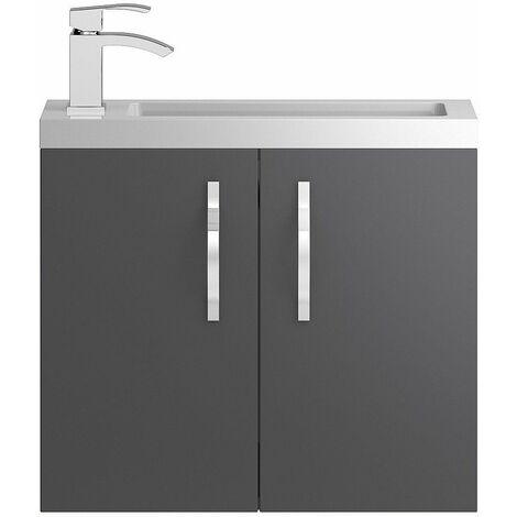 Vasari Beacon Compact Grey Gloss Wall Hung Cloakroom Vanity Unit Basin 600mm