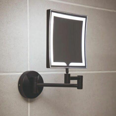 Vasari Black Square LED Wall Mounted 2 Sided Shaving Mirror 200mm x 200mm Mains