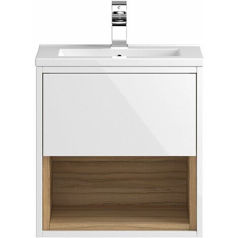 "main image of ""Vasari Camden 500mm Wall Hung White Gloss Cloakroom Vanity Unit Deep Basin"""