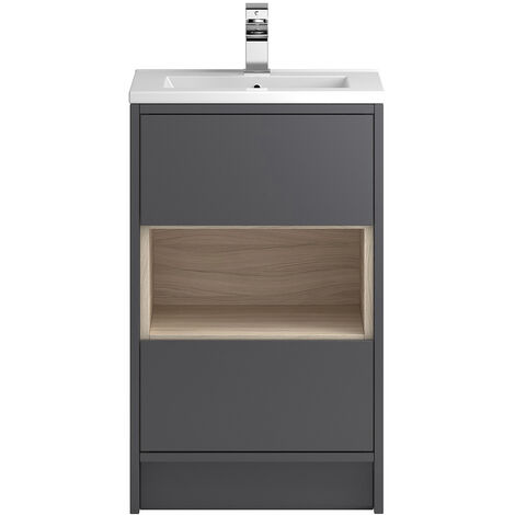Vasari Camden Grey Gloss Floorstanding Cloakroom Vanity Unit Deep Basin 500mm