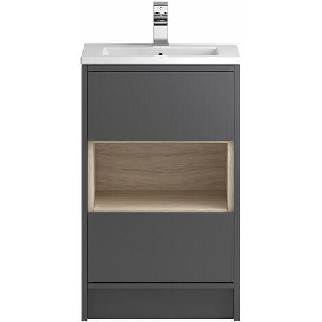Vasari Camden Grey Gloss Floorstanding Cloakroom Vanity Unit Slim Basin 500mm