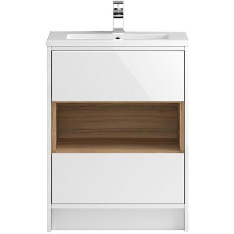 Vasari Camden White Gloss Floorstanding Cloakroom Vanity Unit Deep Basin 600mm